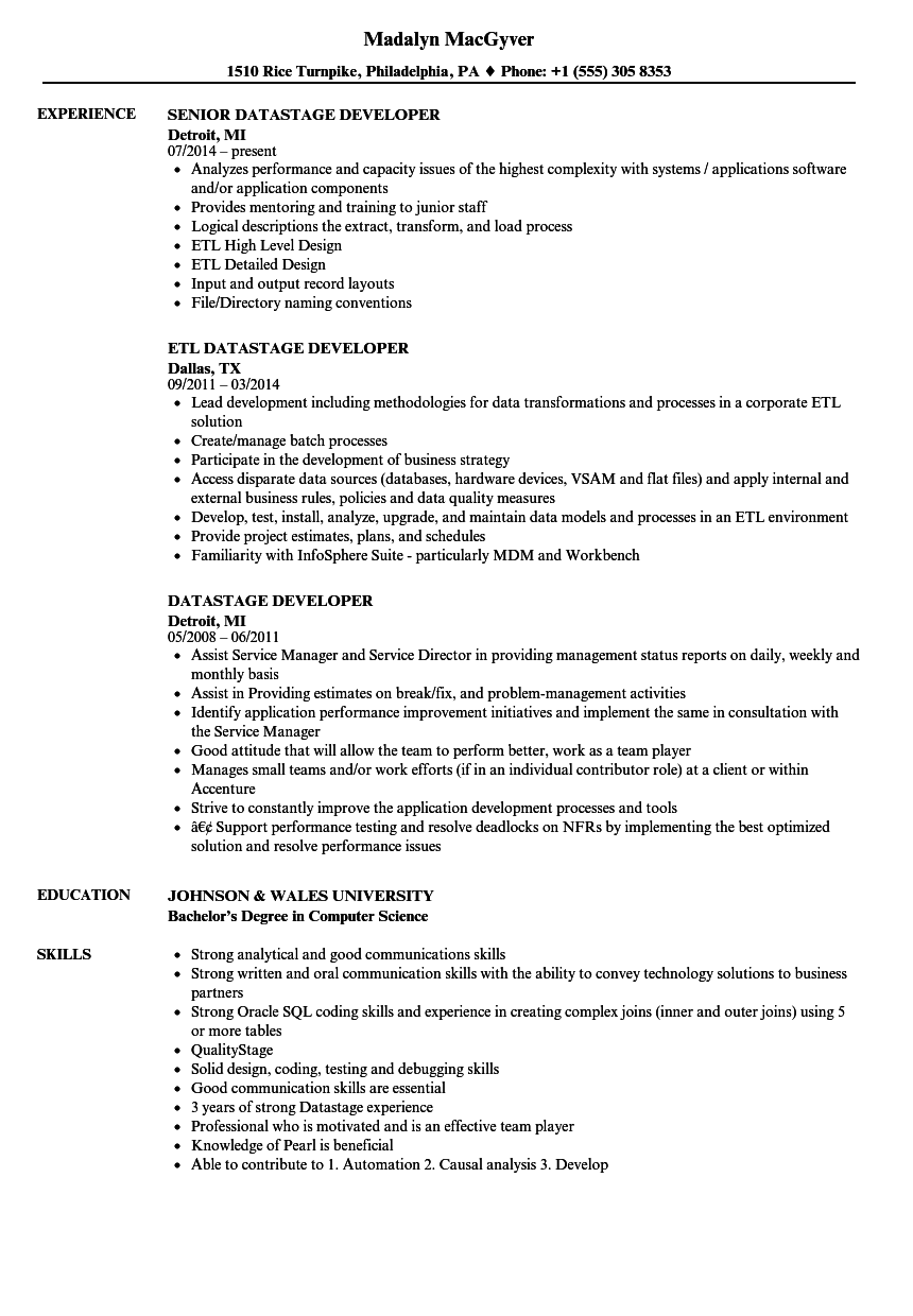 Datastage Developer Resume Samples | Velvet Jobs