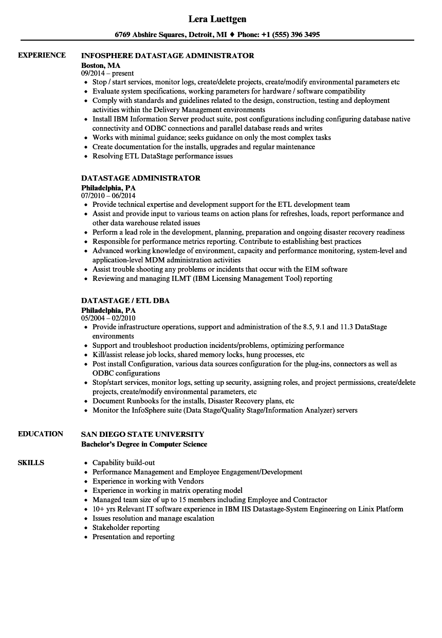 Datastage Resume Samples | Velvet Jobs