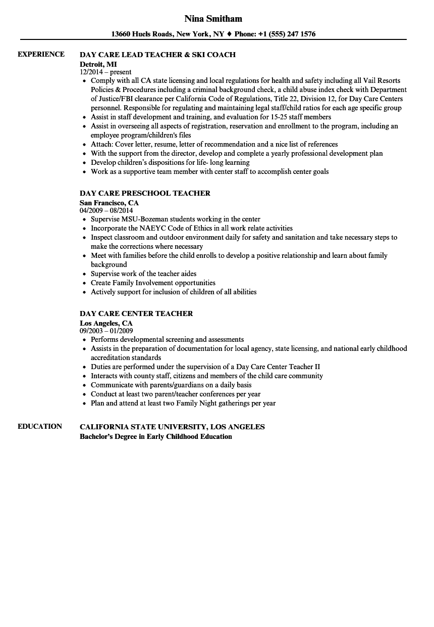 day care teacher resume samples