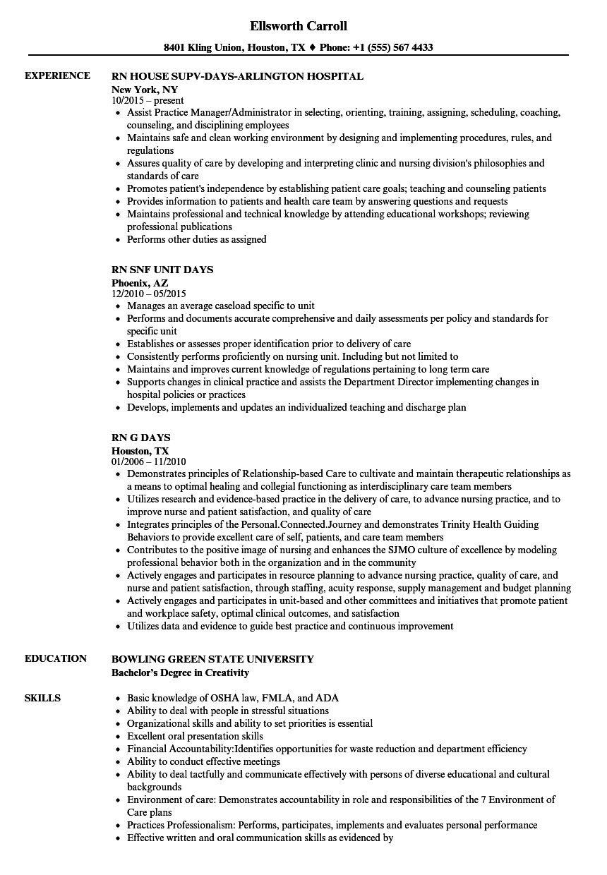 Days RN Resume Samples | Velvet Jobs