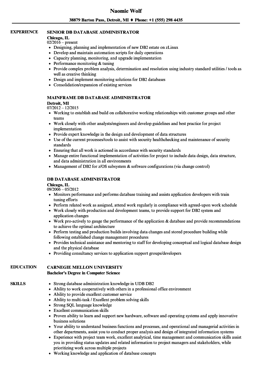DB Database Administrator Resume Samples Velvet Jobs