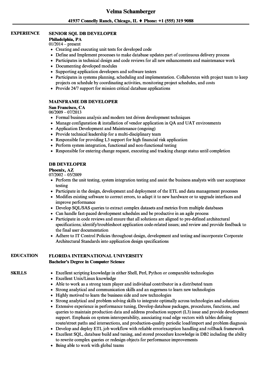 DB Developer Resume Samples | Velvet Jobs