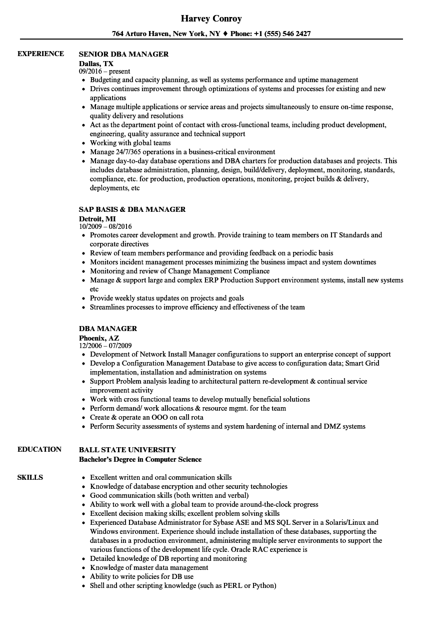 dba manager resume samples