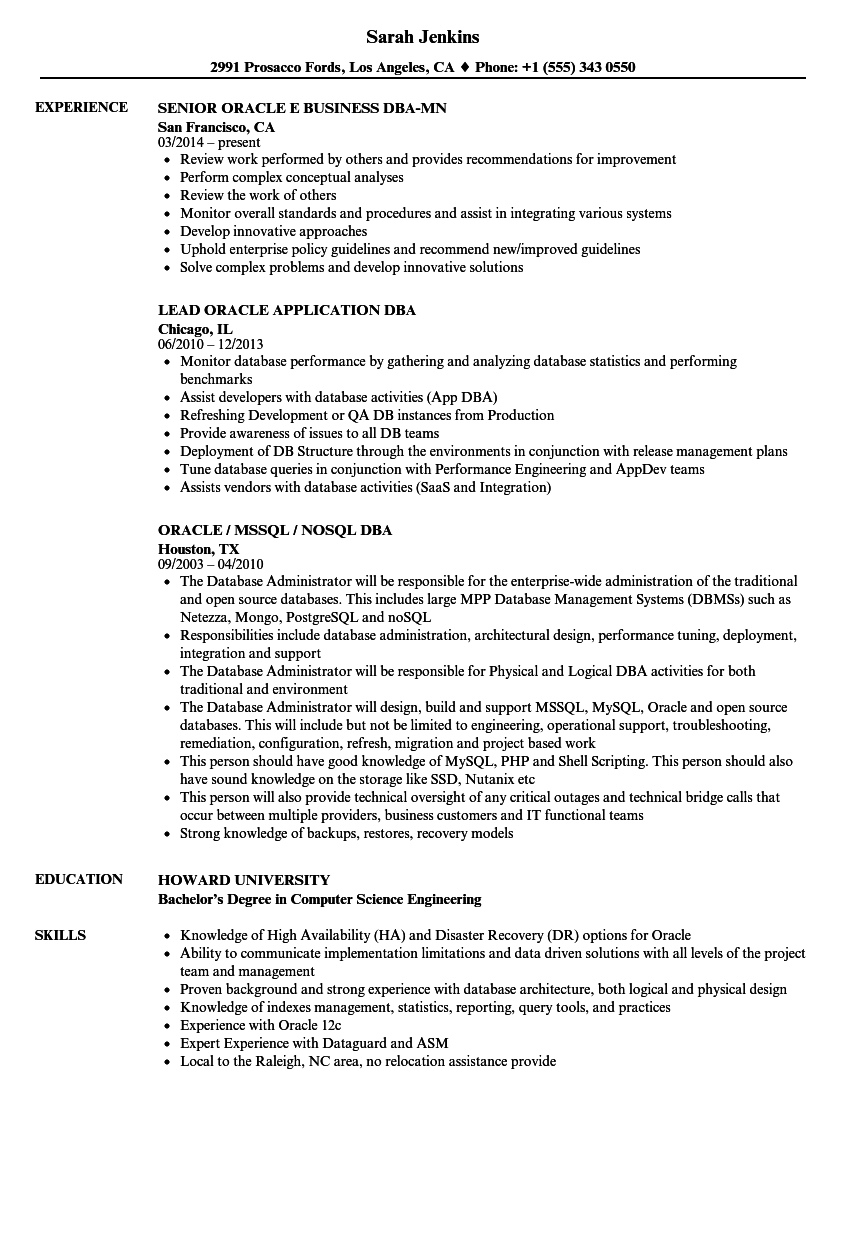 Dbaoracle Resume Samples Velvet Jobs
