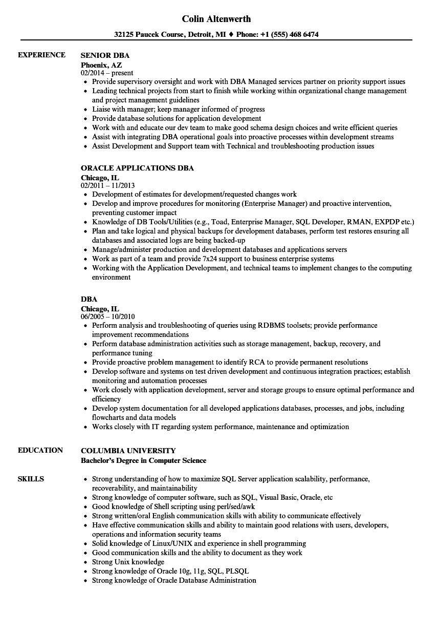 Dba Resume Samples   Velvet Jobs