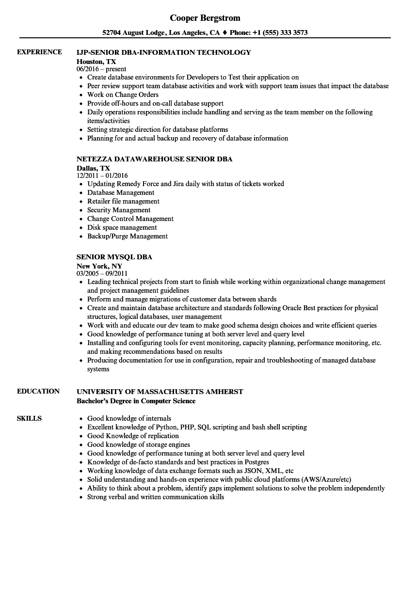 DBA Senior Resume Samples Velvet Jobs