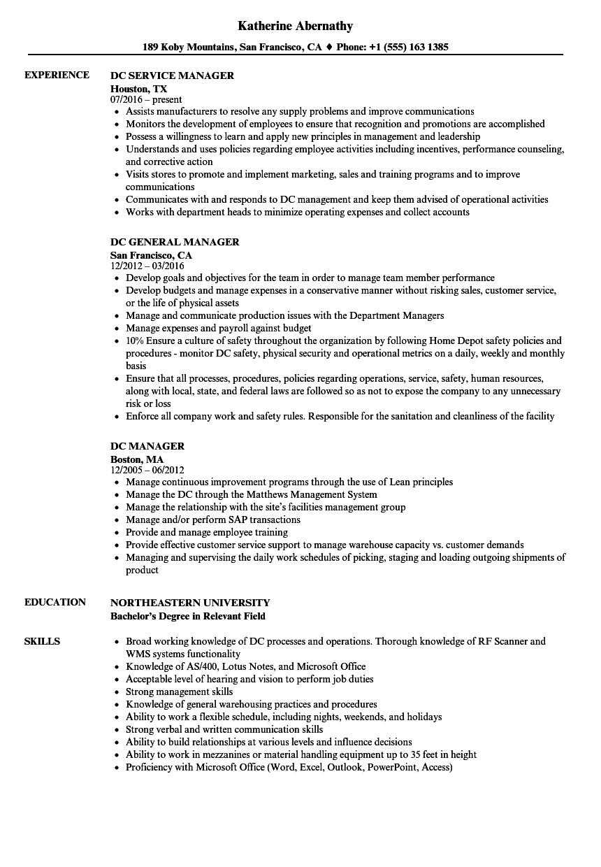 dc manager resume samples