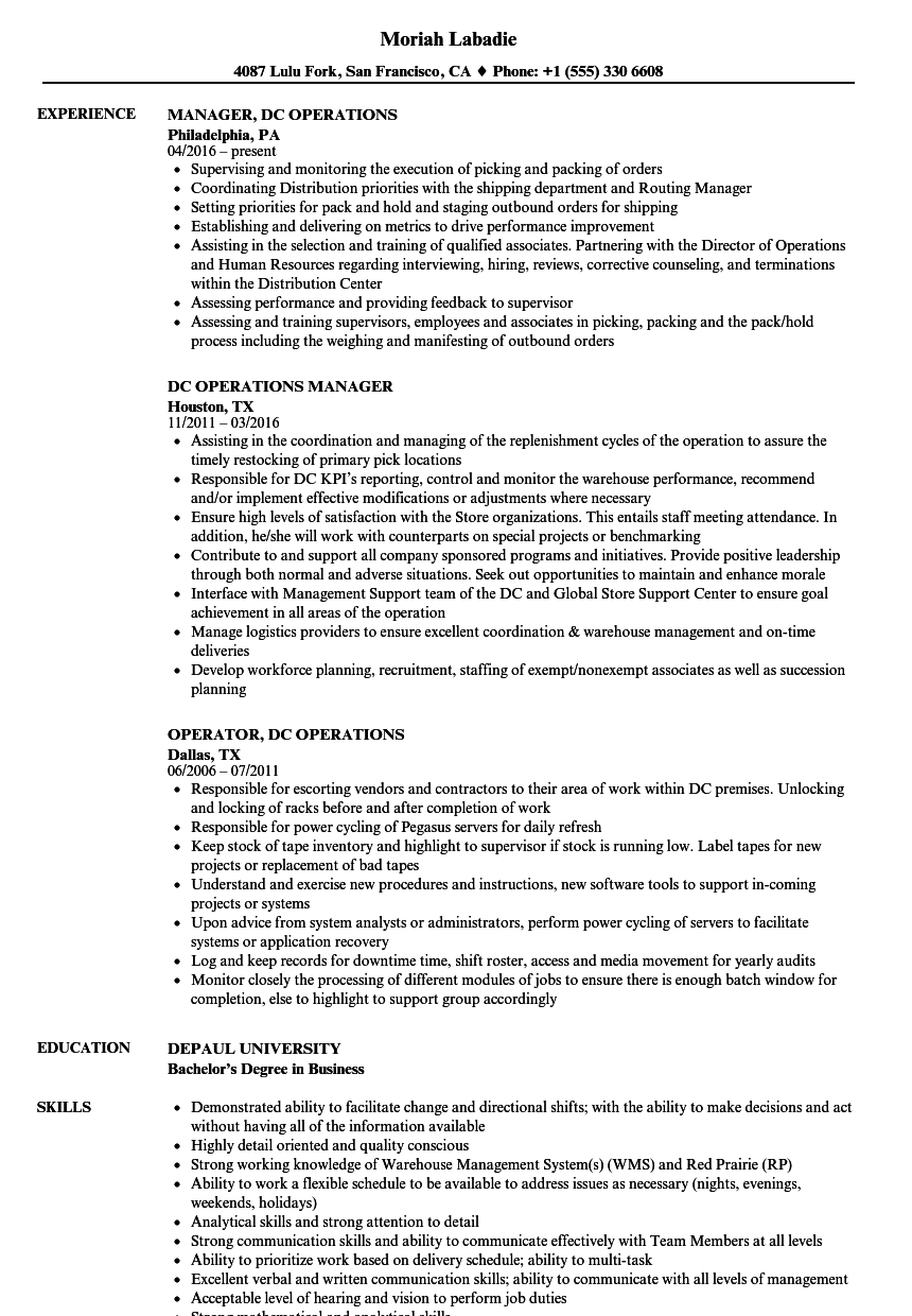 dc operations resume samples