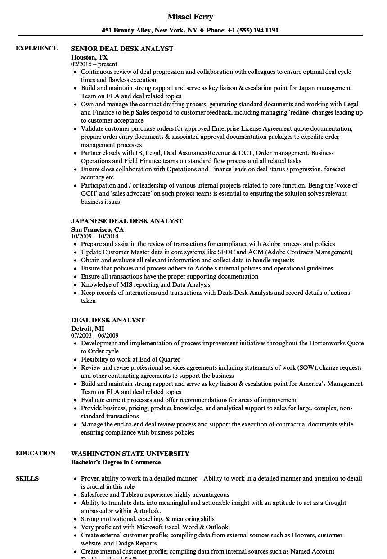 Deal Desk Analyst Resume Samples Velvet Jobs