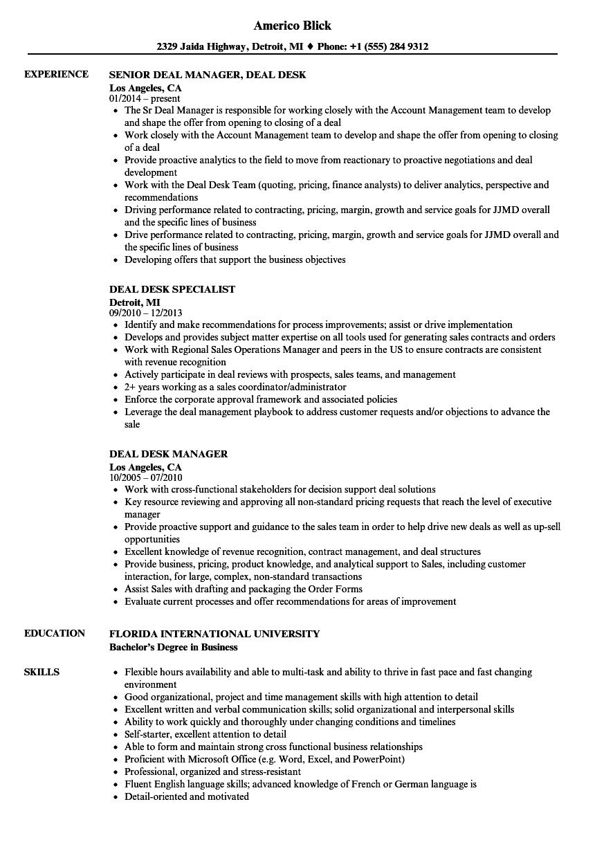 deal desk resume samples