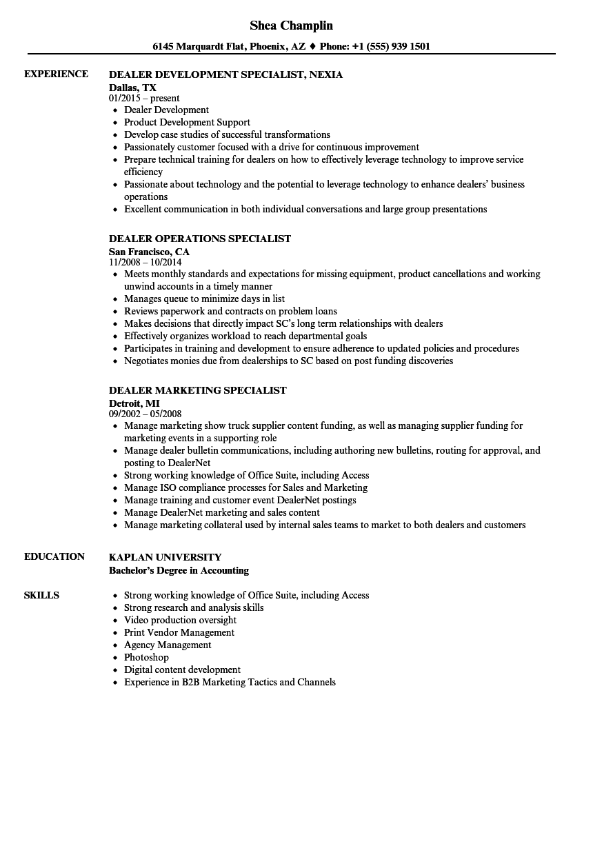 download dealer specialist resume sample as image file - Licensing Specialist Sample Resume