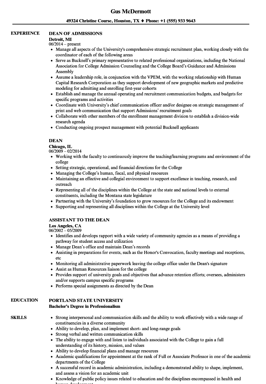 Dean Resume Samples   Velvet Jobs