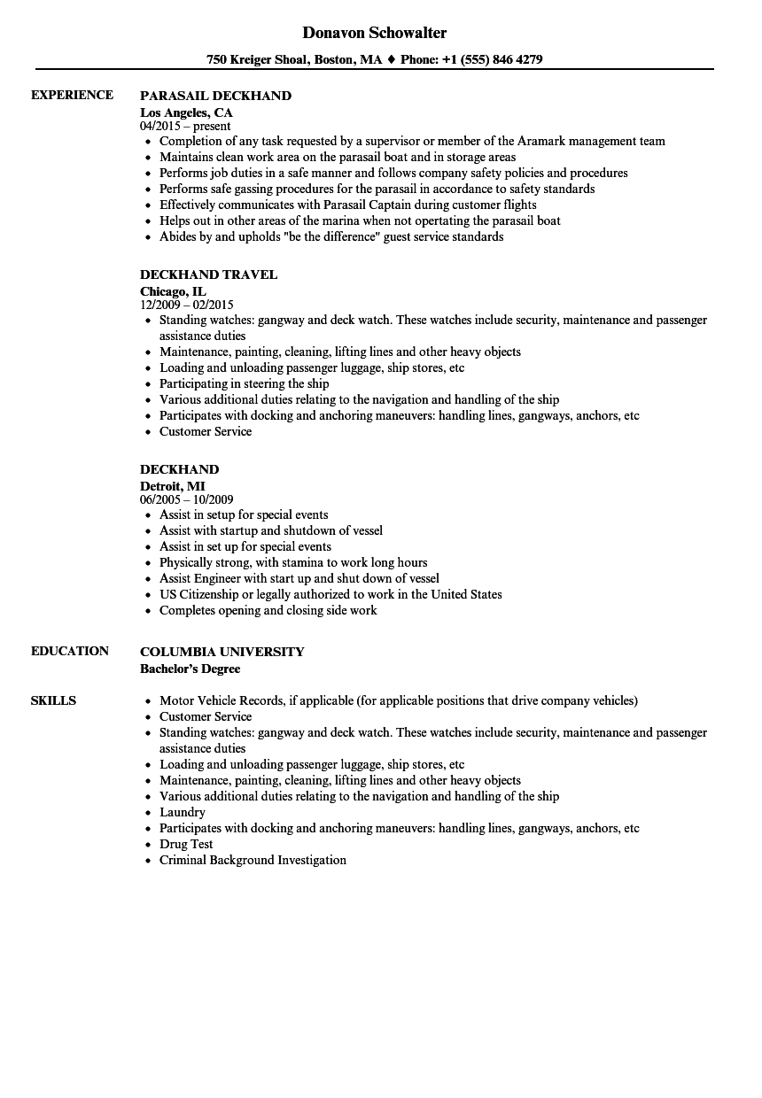 Deckhand Resume Samples  Velvet Jobs