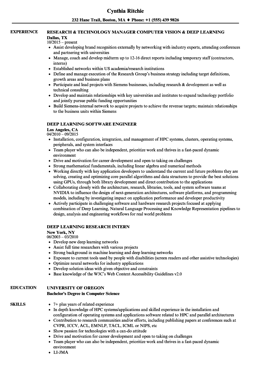 deep learning resume samples velvet jobs