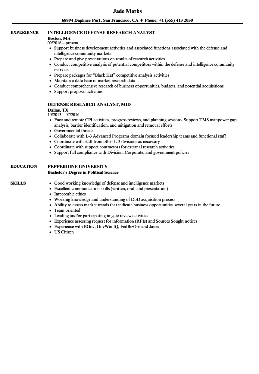 Defense Research Analyst Resume Samples | Velvet Jobs