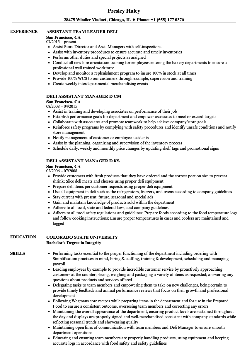deli assistant resume samples