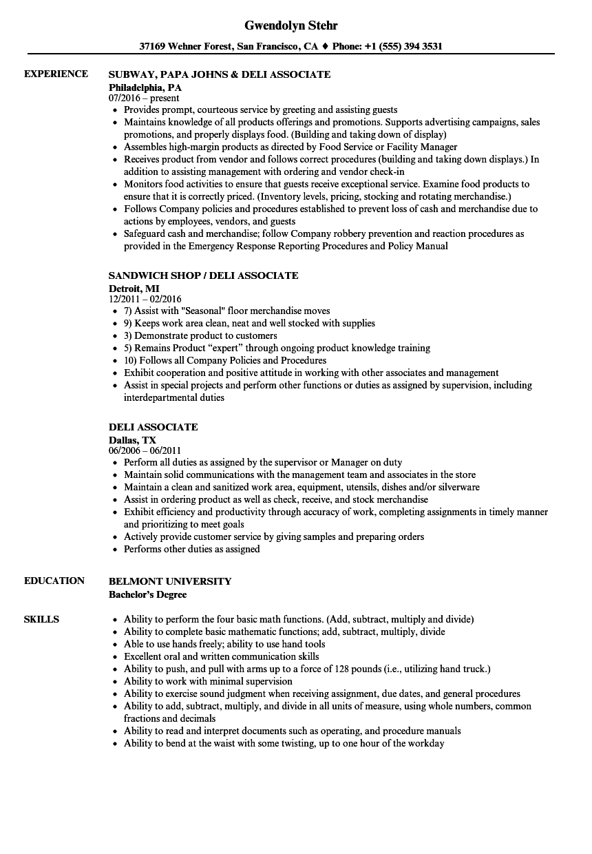 Deli Associate Resume Samples Velvet Jobs