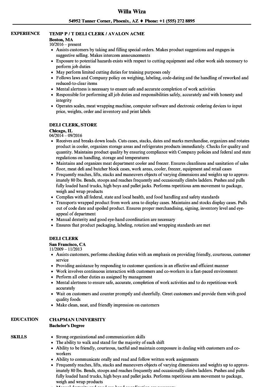 deli clerk resume samples