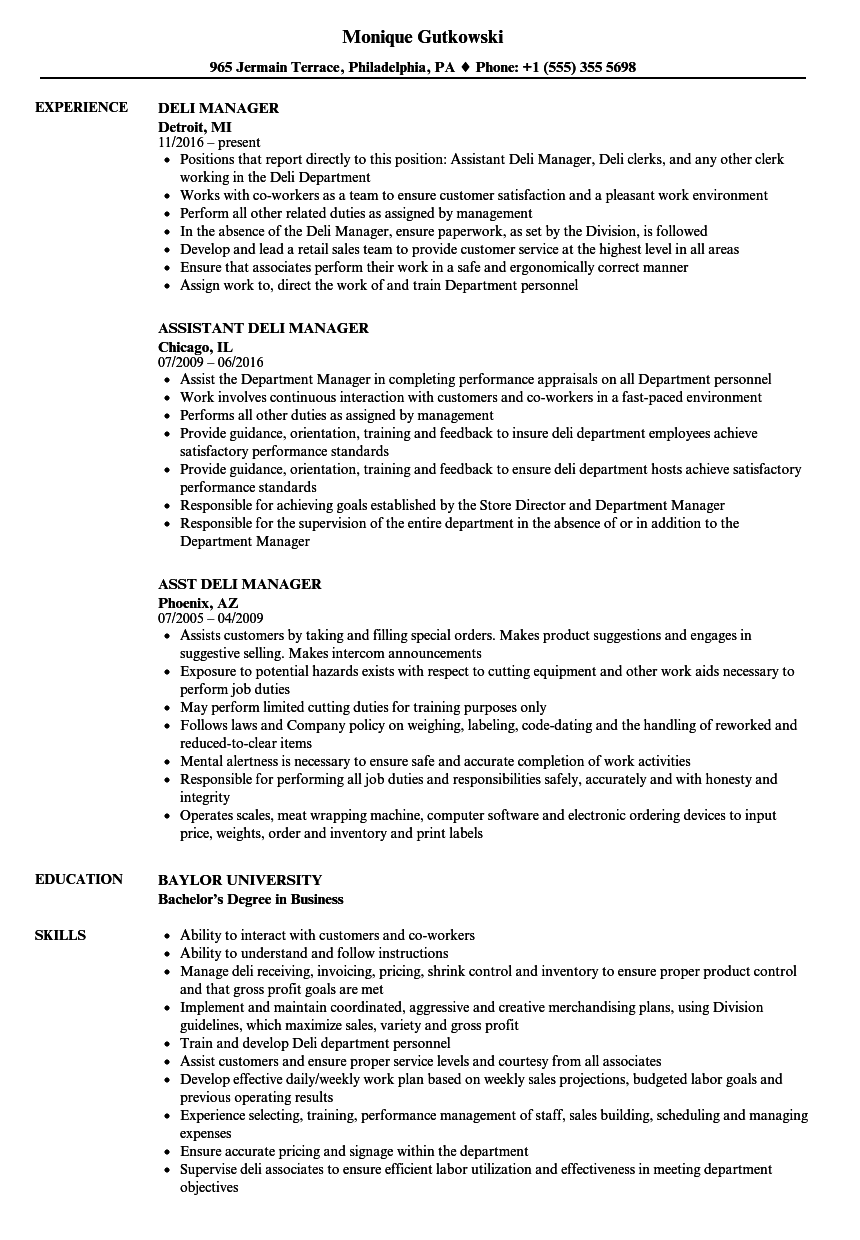 deli manager resume samples