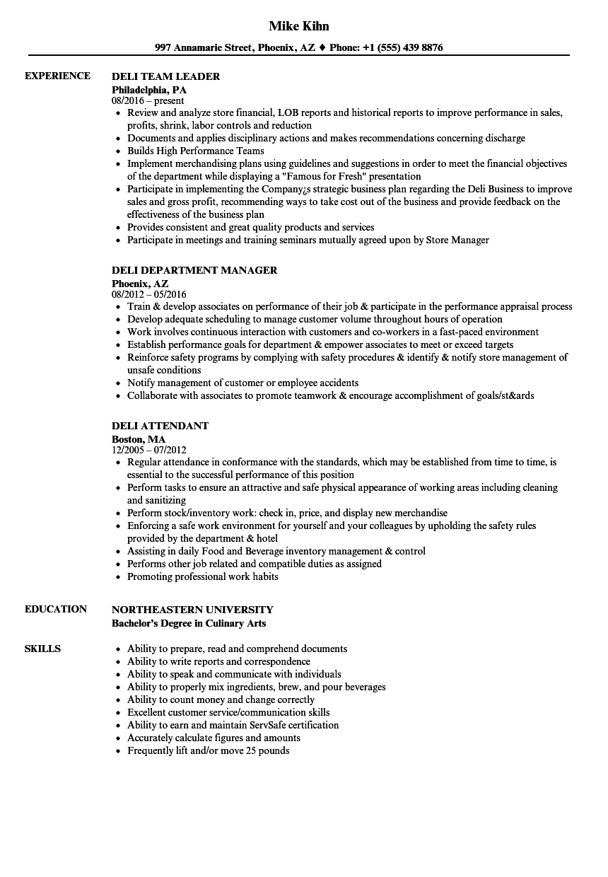 deli resume samples