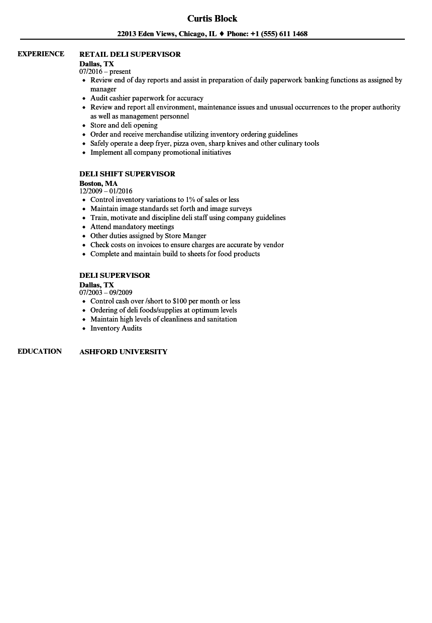 Deli Supervisor Resume Samples Velvet Jobs