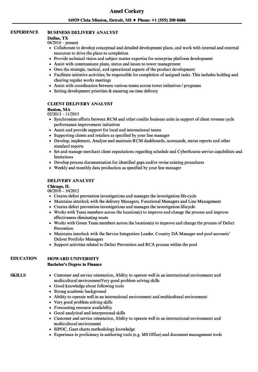 delivery analyst resume samples