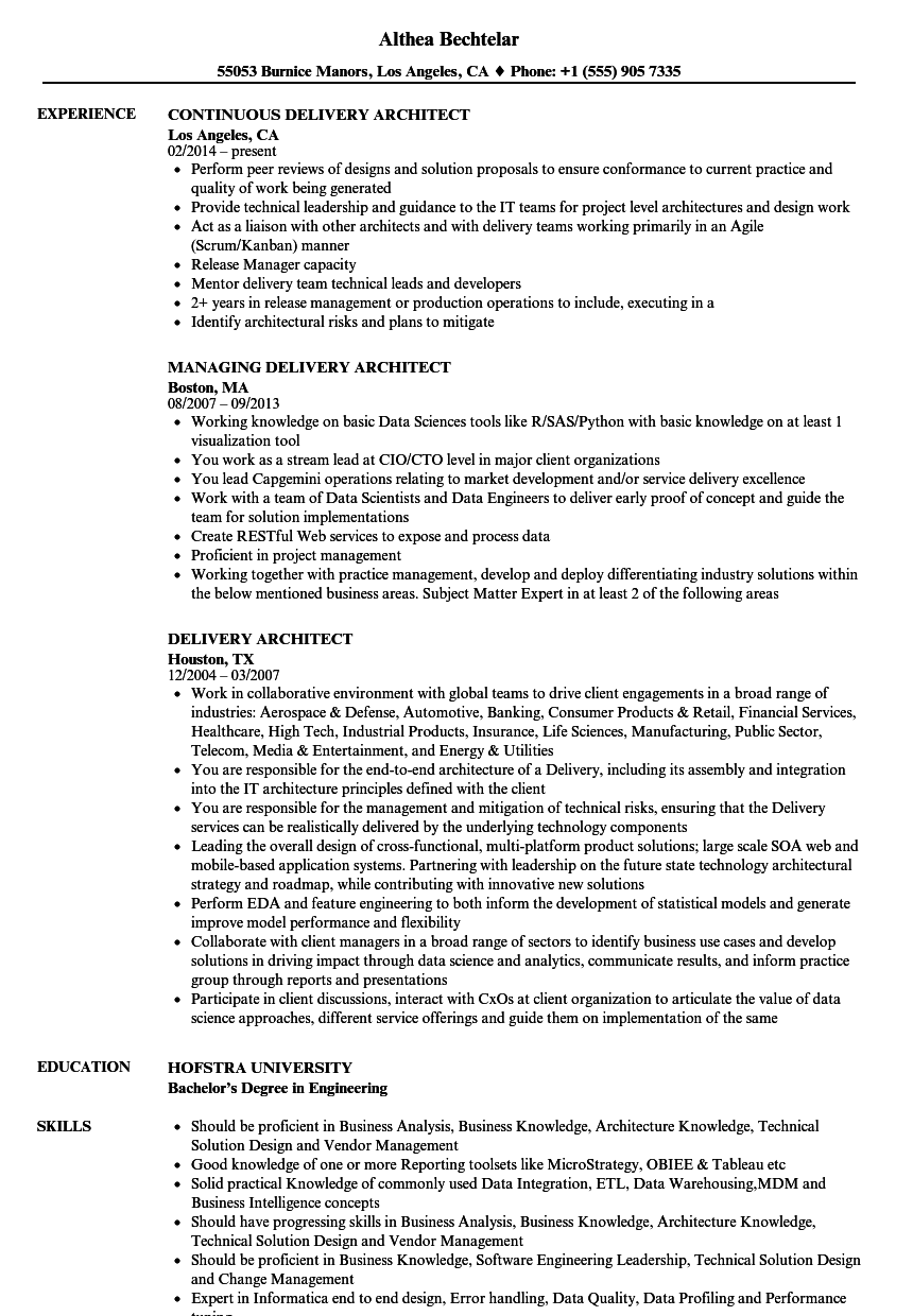download delivery architect resume sample as image file - Sample Architect Resume