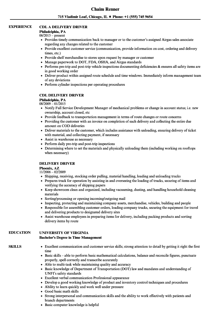 Velvet Jobs  Delivery Driver Resume