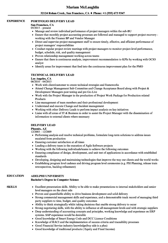 Delivery Lead Resume Samples | Velvet Jobs