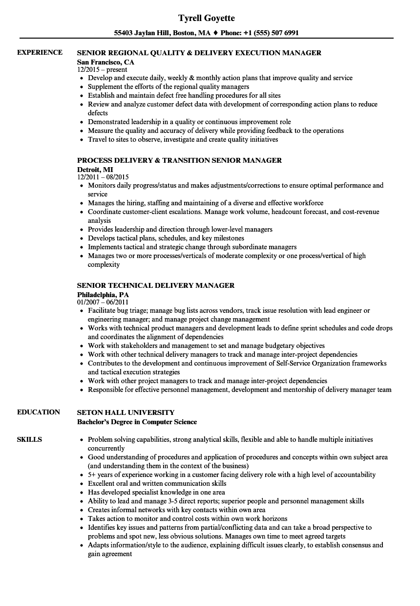 delivery manager senior resume samples