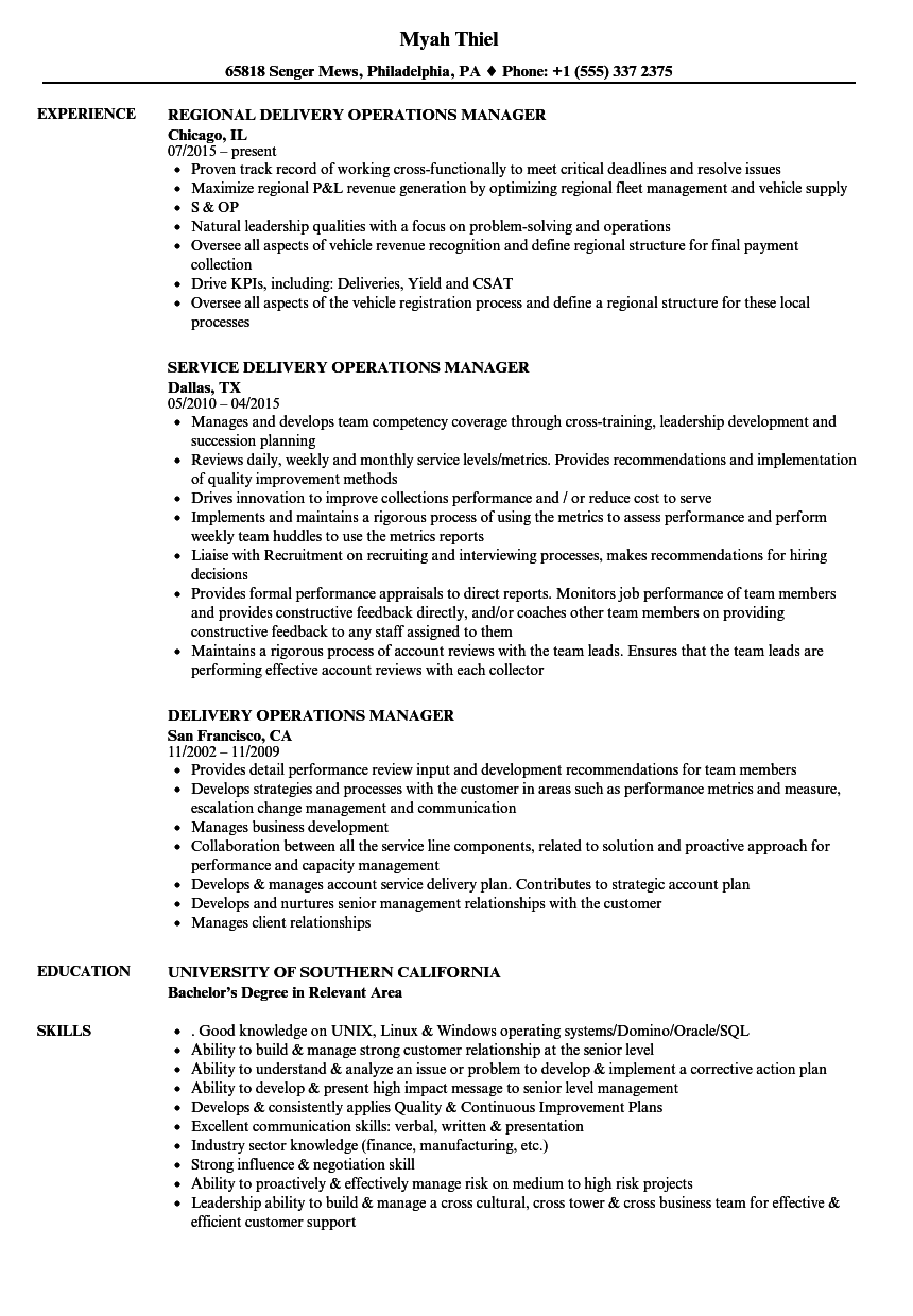 Download Delivery Operations Manager Resume Sample As Image File