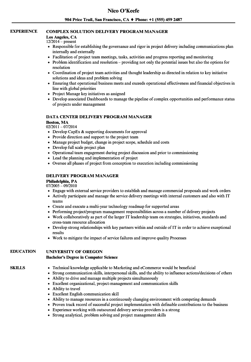 delivery program manager resume samples velvet jobs