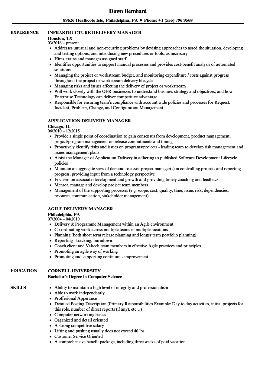 delivery resume samples
