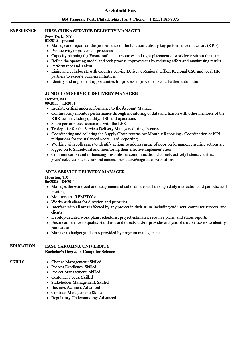 delivery service manager resume samples