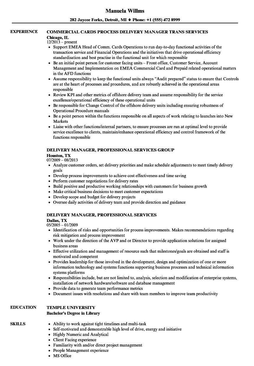 Delivery Services Manager Resume Samples Velvet Jobs