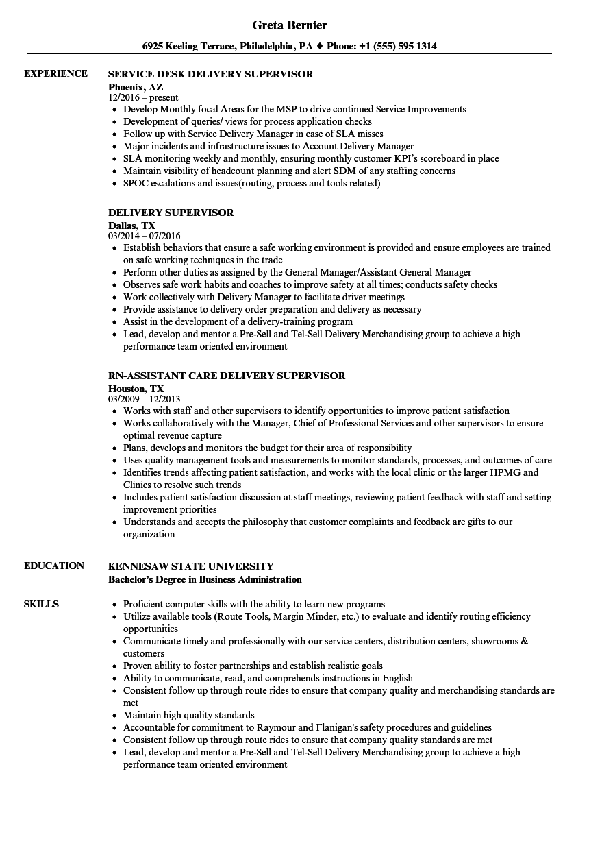 Delivery Supervisor Resume Samples | Velvet Jobs