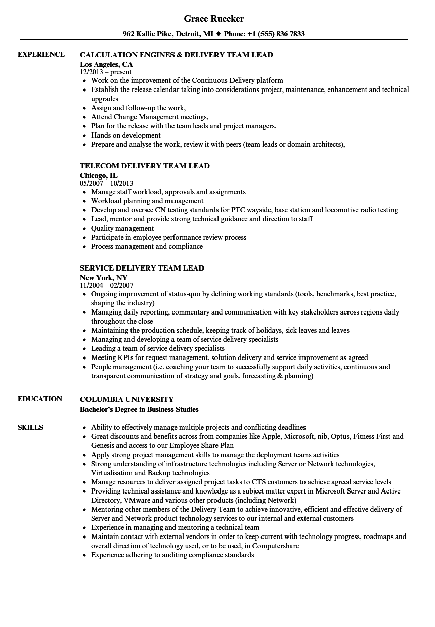 delivery team lead resume samples
