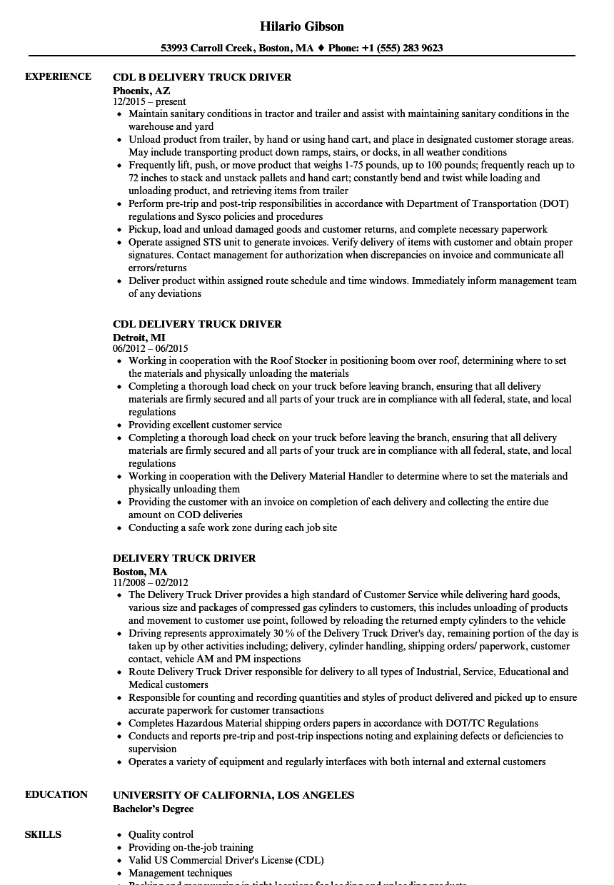 download delivery truck driver resume sample as image file