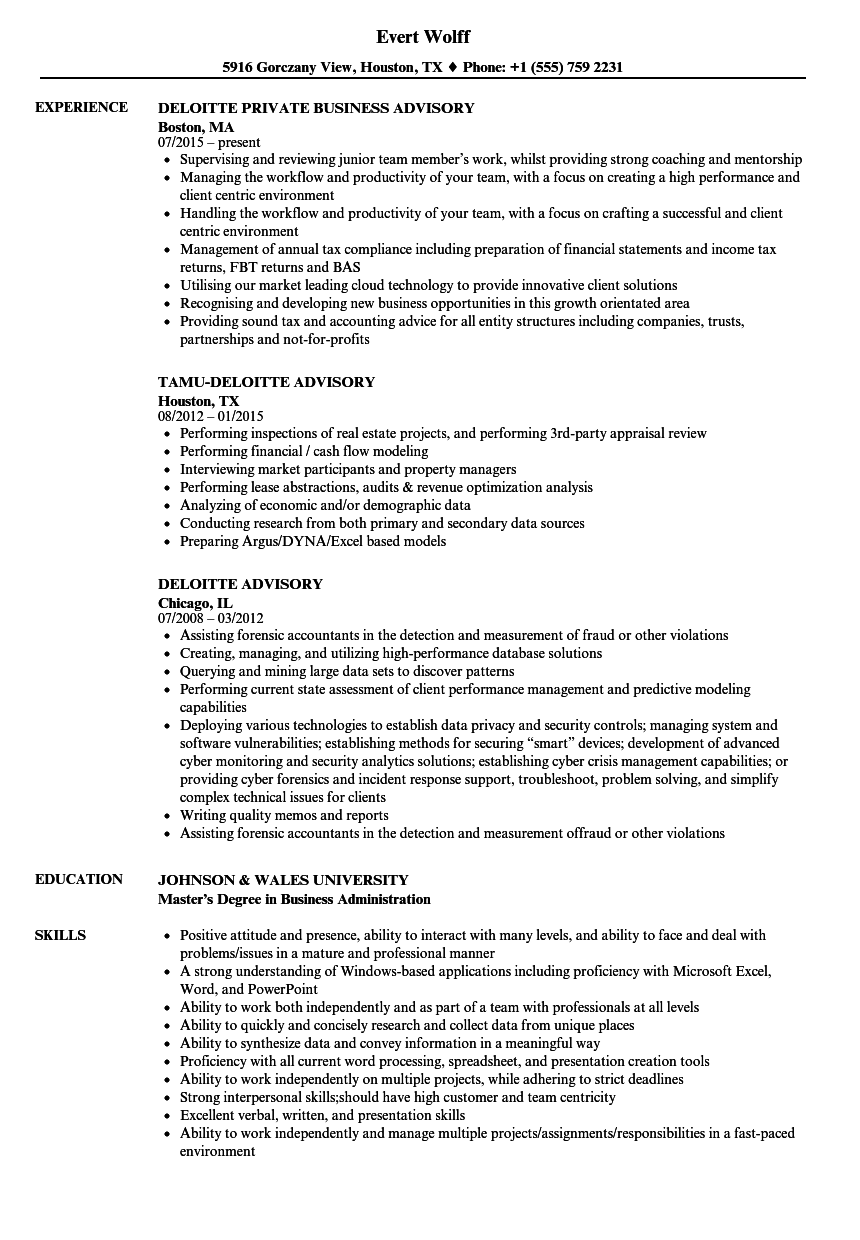 deloitte advisory resume samples