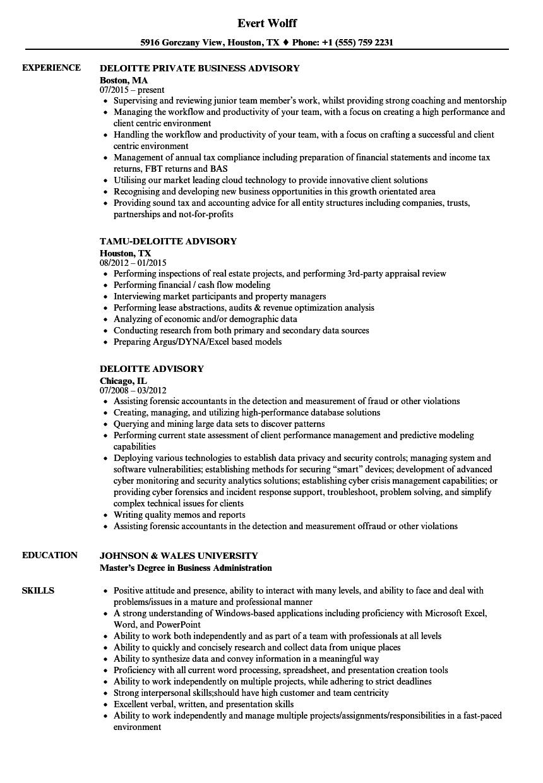 Deloitte Advisory Resume Samples | Velvet Jobs