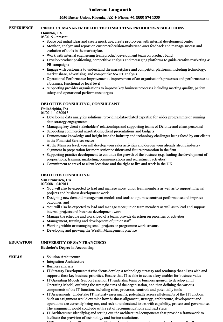 Deloitte Consulting Resume Samples | Velvet Jobs