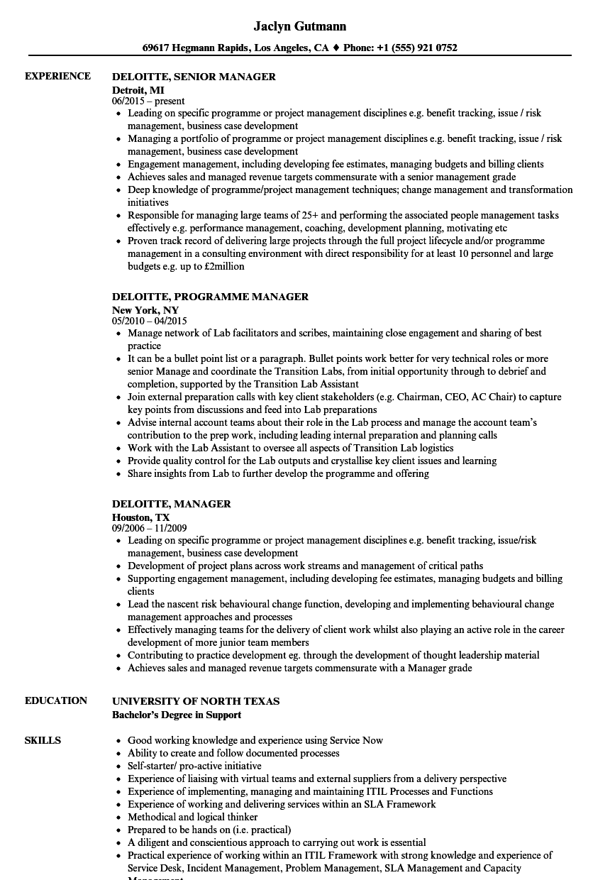 deloitte  manager resume samples
