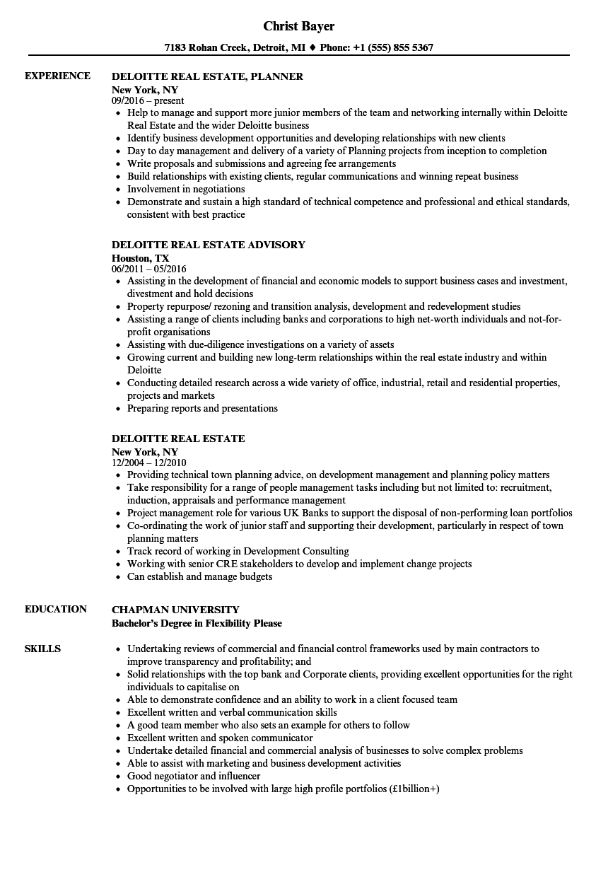 deloitte real estate resume samples