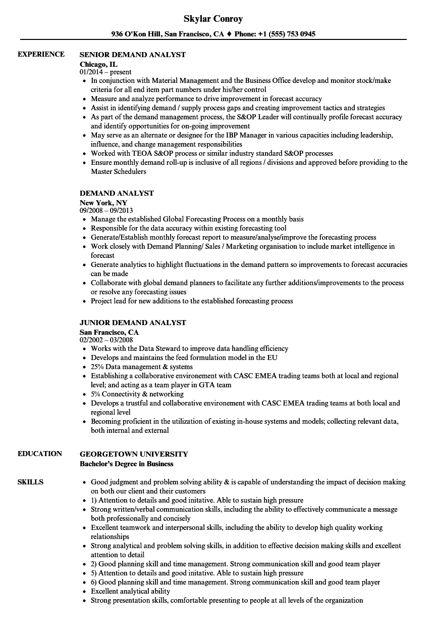 demand analyst resume samples