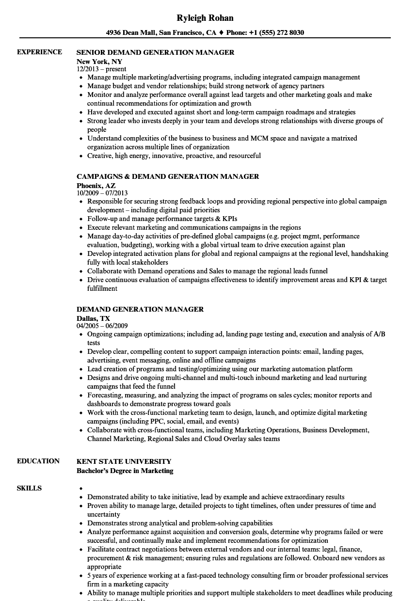 demand generation manager resume samples