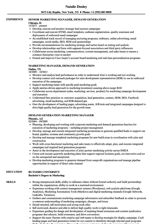 Download Demand Marketing Manager Resume Sample As Image File