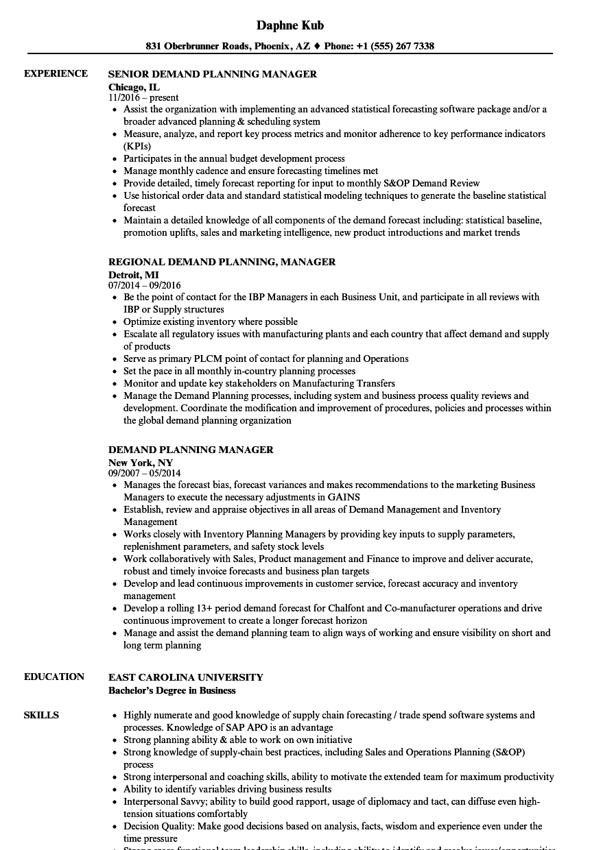 Demand Planning Manager Resume Samples Velvet Jobs