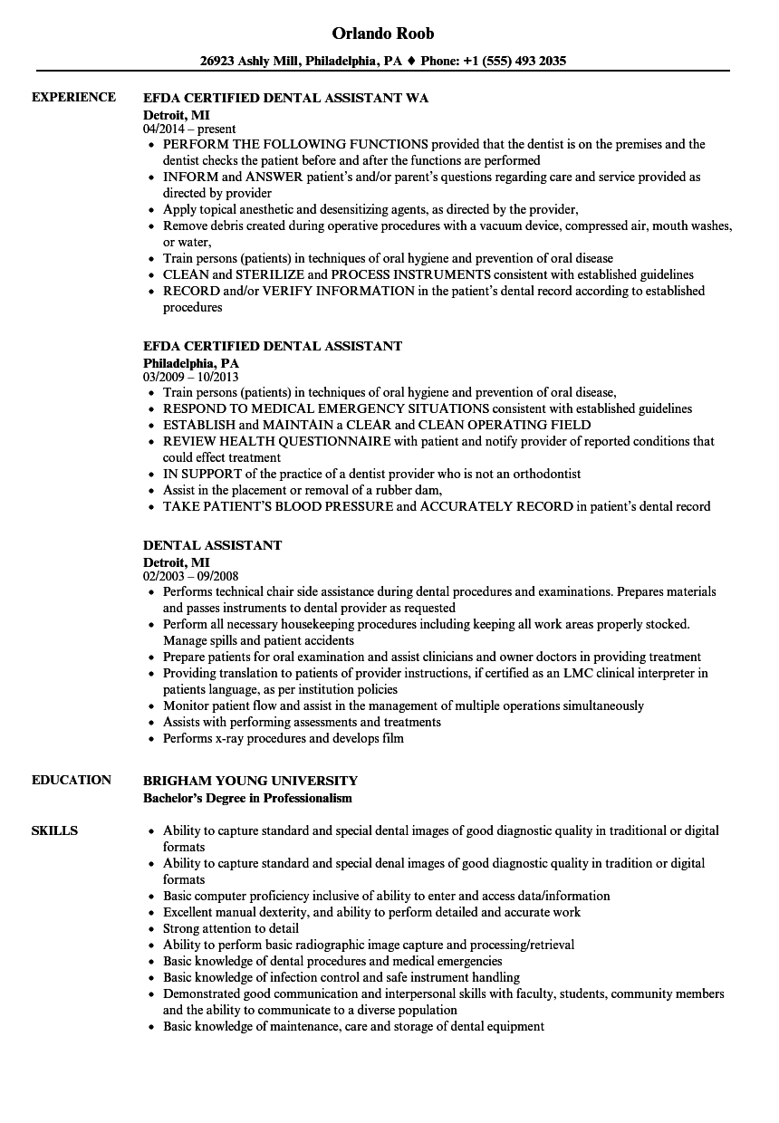 download dental assistant resume sample as image file - Resume Of Dental Assistant