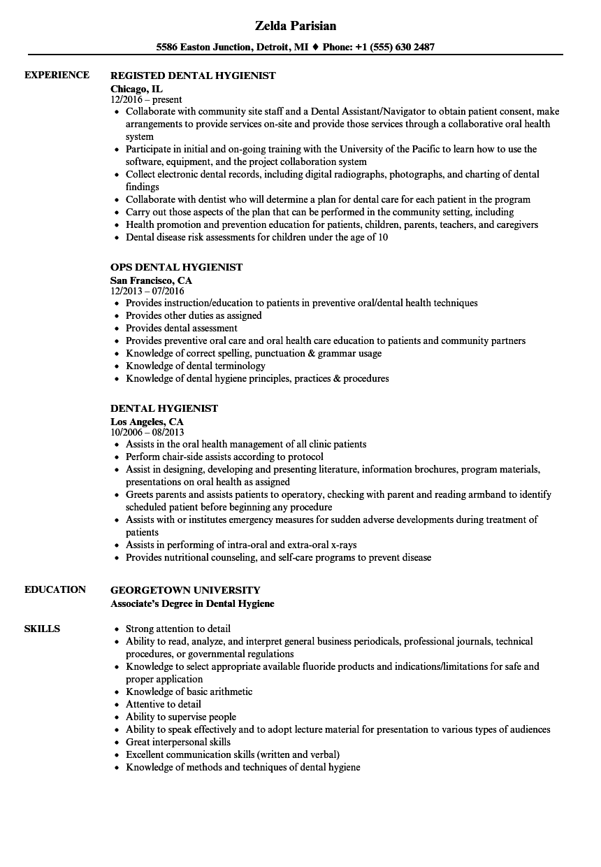 sample resume for dental hygienist