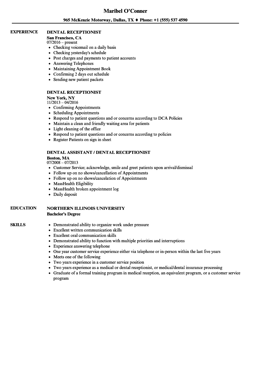 dental receptionist resume samples velvet jobs